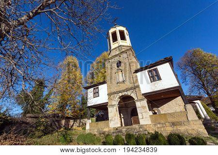 BOZHENTSI, BULGARIA - OCTOBER 29 2016:   Autumn view of Church of Saint Prophet Elijah in village of Bozhentsi, Gabrovo region, Bulgaria
