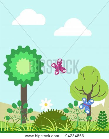 Summer landscape with tall green trees, colorful butterflies with pattern on wings, fresh grass, wild herbs, tender chamomile, soft white clouds and light blue sky cartoon vector illustration.