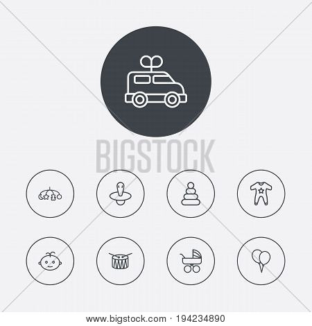 Set Of 9 Kid Outline Icons Set.Collection Of Clockwork Car, Nipple, Boy And Other Elements.