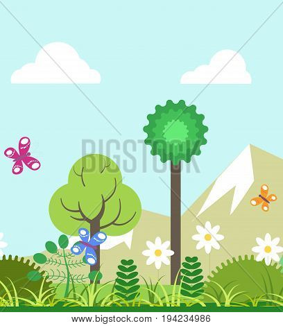 Summer of four seasons nature landscape and weather. Vector flat scenery of mountains, butterfly over blooming flowers and trees, shining sun and green trees