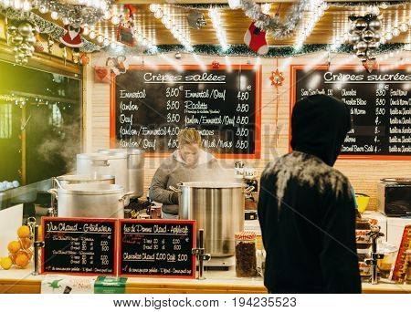 Selling Traditional Crepes At Christmas Market In Frnace