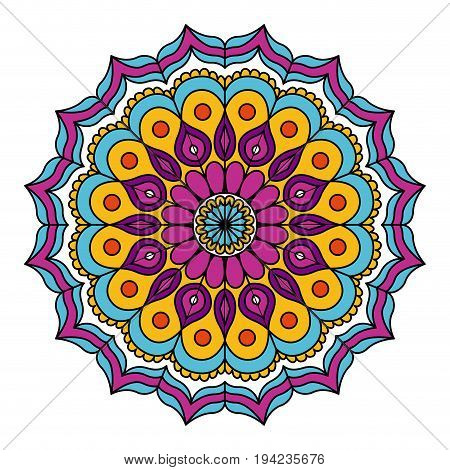 white background with colorful flower mandala vintage decorative circles ornament vector illustration