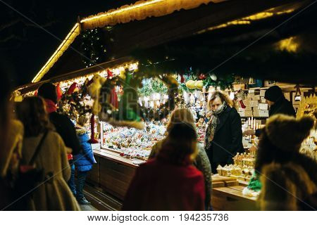 Customers At The Christmas Market