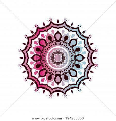 white background with brightness red wine and light blue brilliant flower mandala vintage decorative ornament vector illustration