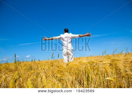 Happiness in golden summer corn field
