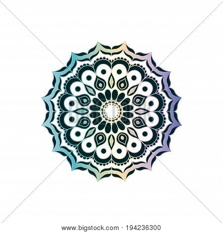 green on transparency and colorful brilliant flower mandala vintage decorative ornament vector illustration