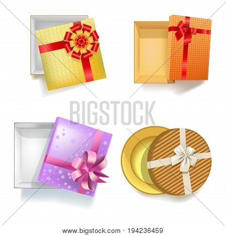 Gift box with ribbon on decoration bow. Vector 3d realistic modern or vintage round and square cardboard paper boxes for Christmas or birthday gifts package