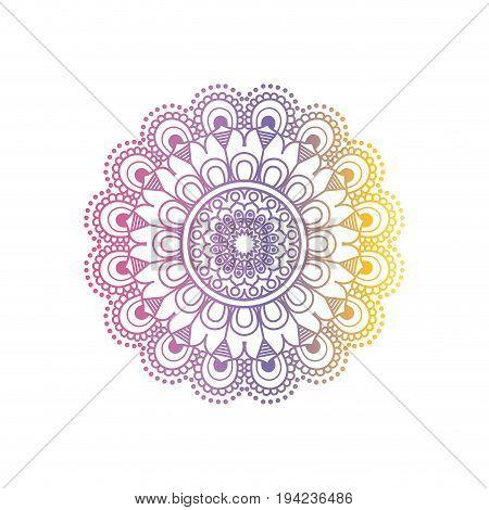 purple and yellow color gradient brilliant flower mandala vintage decorative ornament vector illustration