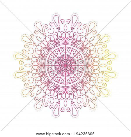 red and yellow color gradient brilliant flower mandala vintage decorative ornament vector illustration