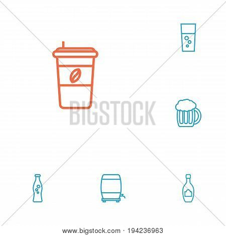 Set Of 6 Beverages Outline Icons Set.Collection Of Fizzy Water, Beer, Cappuccino And Other Elements.