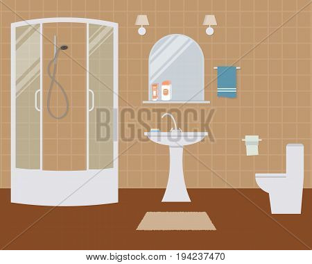 Bathroom and toilet. There is a shower cabin, a wash basin, a mirror, a toilet bowl and other objects in the picture. Vector flat illustration.