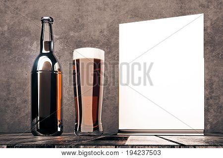 Empty beer bottle glass and whiteboard on dark concrete background. Advertising merchandising concept. Mock up 3D Rendering