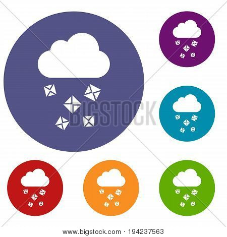 Cloud and hail icons set in flat circle reb, blue and green color for web