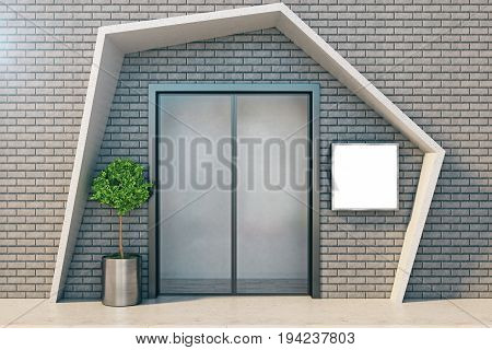 Front view of elevator with closed doors on brick wall with abstract hood empty frame and decorative plan. 3D Rendering