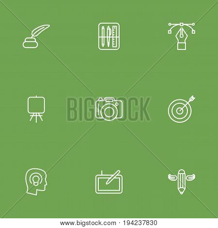 Set Of 9 Constructive Outline Icons Set.Collection Of Inkwell With Pen, Graphic Tablet, Writing And Other Elements.