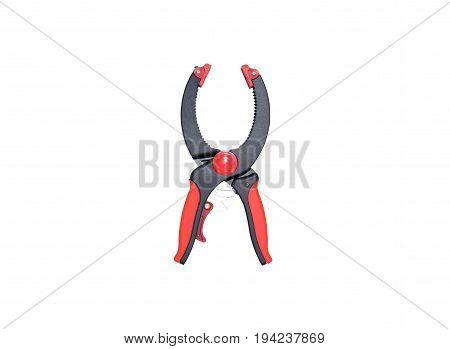 Image of clamp pliers with a white background. Pliers is used for squeeze or catch something to still.