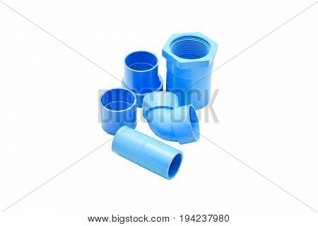 Image of some PVC pipe fittings with a white background
