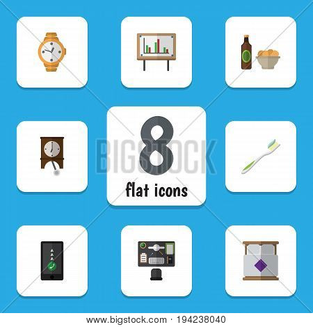 Flat Icon Life Set Of Clock, Cellphone, Beer With Chips And Other Vector Objects. Also Includes Smartphone, Snack, Whiteboard Elements.