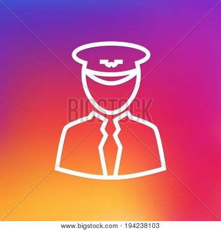 Isolated Aviator Outline Symbol On Clean Background. Vector Pilot Element In Trendy Style.