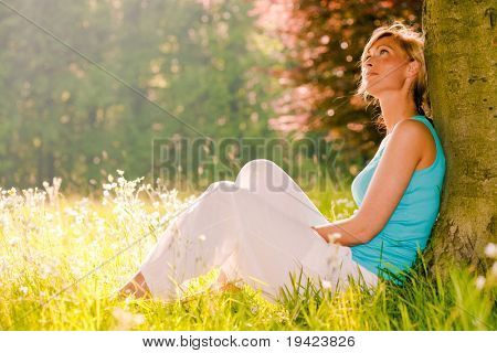 Relaxing female enjoying summer day