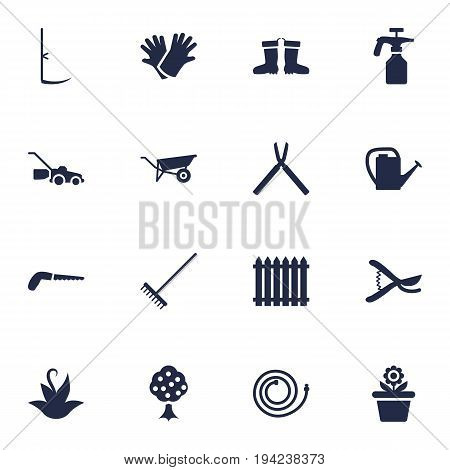 Set Of 16 Household Icons Set.Collection Of Latex, Garden Hose, Flowerpot And Other Elements.