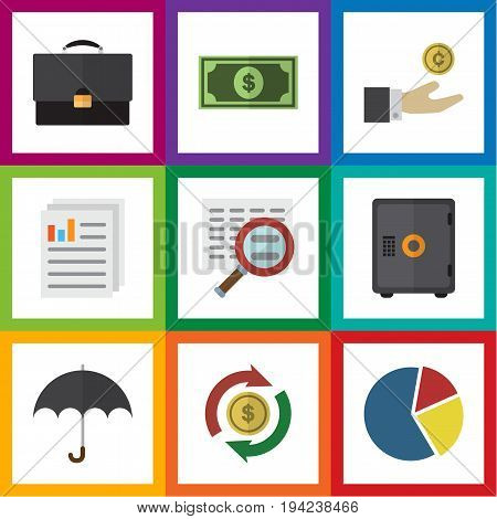 Flat Icon Finance Set Of Portfolio, Hand With Coin, Document Vector Objects. Also Includes Bank, Umbrella, Parasol Elements.