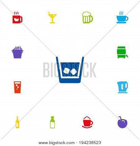 Set Of 13 Drinks Icons Set.Collection Of Cup, Cask, Wine And Other Elements.