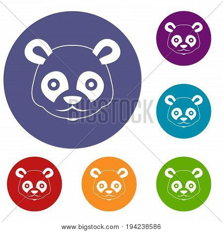 Head of panda icons set in flat circle reb, blue and green color for web