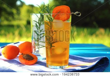 apricot lemonade with rosemary and ice cubes