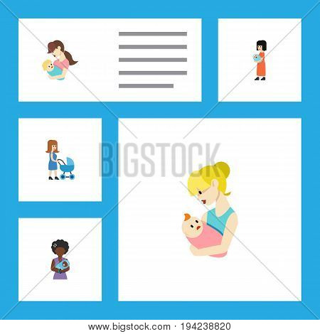 Flat Icon Parent Set Of Baby, Parent, Mam And Other Vector Objects. Also Includes Mam, Baby, Nanny Elements.