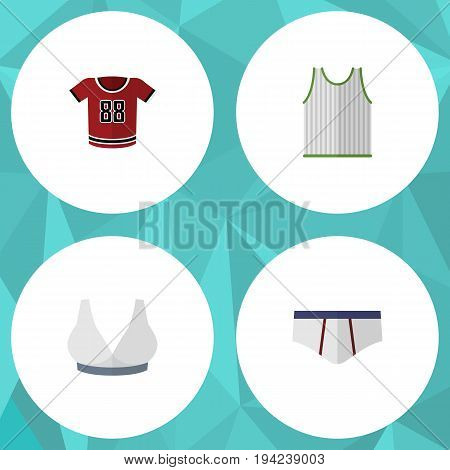 Flat Icon Dress Set Of Brasserie, Singlet, Underclothes And Other Vector Objects. Also Includes Breast, Briefs, Uniform Elements.