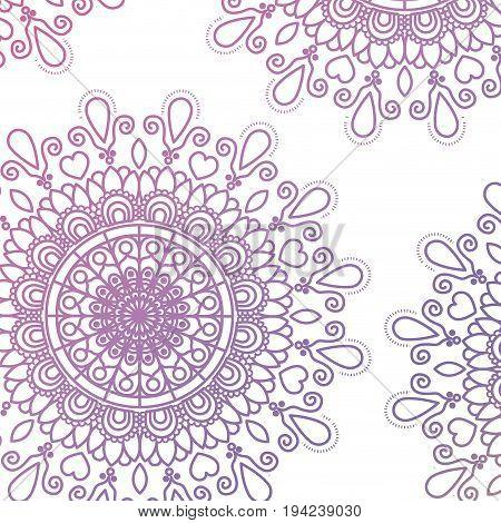pattern purple gradient brilliant flower mandala vintage decorative swirl ornament vector illustration