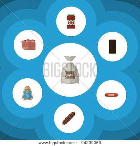 Flat Icon Eating Set Of Canned Chicken, Beef, Ketchup And Other Vector Objects. Also Includes Confection, Beef, Tomato Elements.
