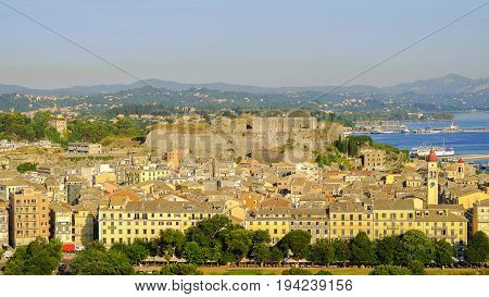 Aerial view on the old town of Kerkira with a new fortress Fortezza Nuova on the island Corfu Greece.
