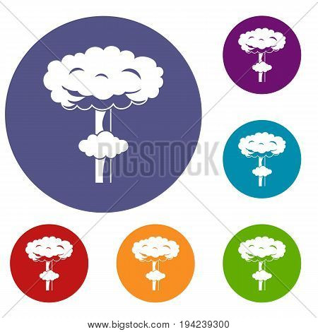 Nuclear explosion icons set in flat circle reb, blue and green color for web