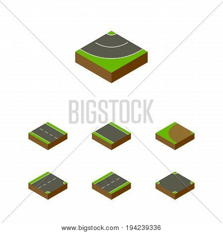Isometric Way Set Of Turning, Single-Lane, Crossroad And Other Vector Objects. Also Includes Crossroad, Driveway, Strip Elements.