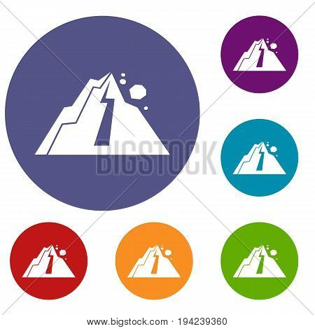 Rockfall icons set in flat circle reb, blue and green color for web
