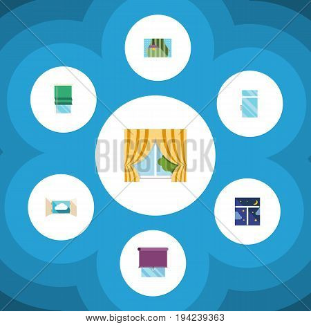 Flat Icon Frame Set Of Balcony, Clean, Glass Frame And Other Vector Objects. Also Includes Frame, Cloud, Window Elements.