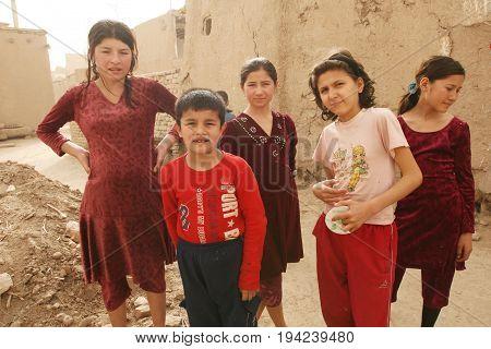 Khiva Uzbekistan - March 08 2009: Portrait of unknown Uzbek children