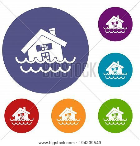 House sinking in a water icons set in flat circle reb, blue and green color for web
