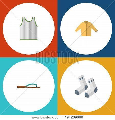Flat Icon Dress Set Of Beach Sandal, Banyan, Singlet Vector Objects. Also Includes Man, Banyan, Sleeveless Elements.