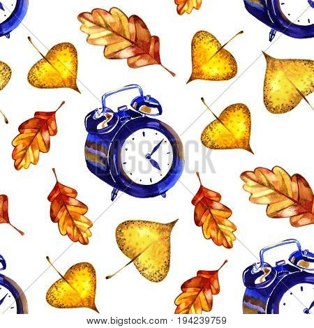 Seamless pattern leaves. Autumn time card. Watercolor illustration on white.