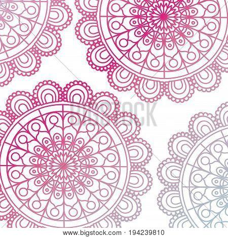 pattern red gradient brilliant flower mandala vintage decorative ornament vector illustration