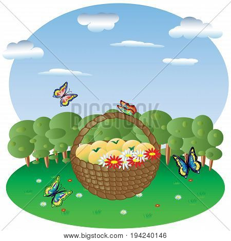 Basket With Fruits And Flowers In A Forest Glade, In The Background Forest And Sky, Butterflies Fly