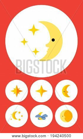 Flat Icon Bedtime Set Of Bedtime, Lunar, Midnight And Other Vector Objects. Also Includes Night, Lunar, Asterisk Elements.