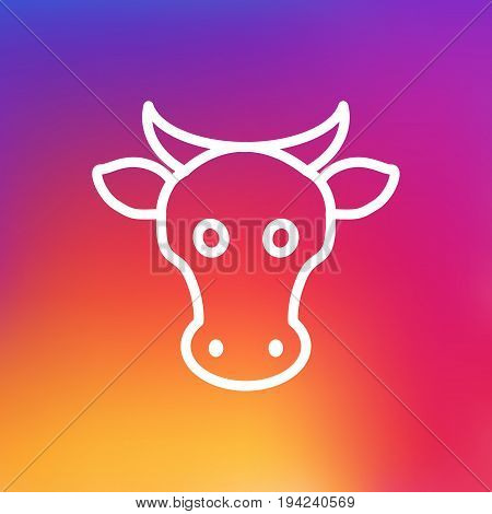 Isolated Kine Outline Symbol On Clean Background. Vector Cow Element In Trendy Style.