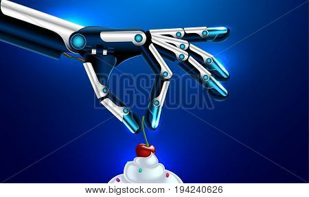 medical robotic prosthetic hand or arms puts the cherry on the cake. robot arm vector. Set