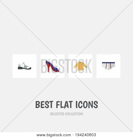 Flat Icon Clothes Set Of Sneakers, Banyan, Underclothes And Other Vector Objects. Also Includes Underwear, Heeled, Man Elements.