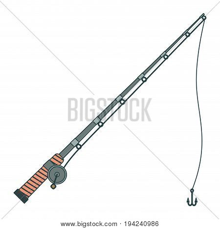 colorful silhouette of fishing rod with nylon reel and fishhook vector illustration