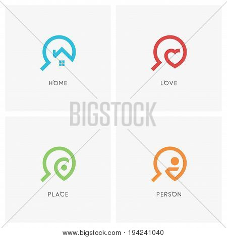 Search logo set. House or home, heart, address pointer, person and magnifier symbol - realty, love, travel and employment agency icons.